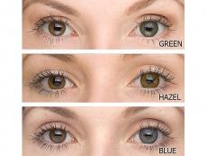 Farbige  Kontaktlinsen TopVue Color auf braunen Augen