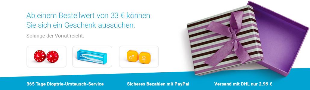 Ab einem Bestellwert von 33 € können Sie sich ein Geschenk aussuchen