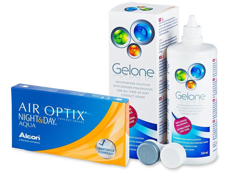 Air Optix Night and Day Aqua (6Linsen) + Gelone 360ml - Spar-Set