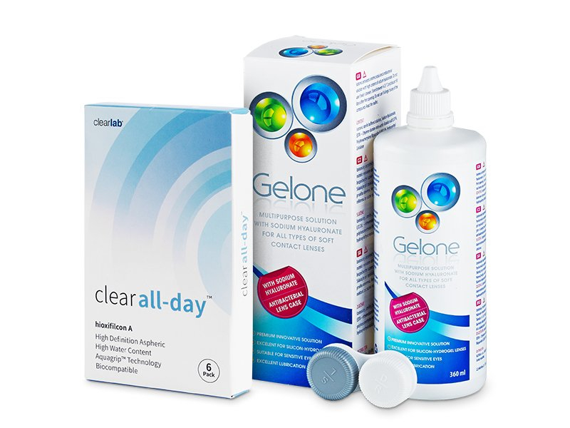 Clear All-Day (6 Linsen) + Gelone 360 ml - Spar-Set