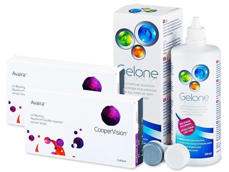 Avaira (2x3 Linsen) +  Gelone 360ml - Spar-Set