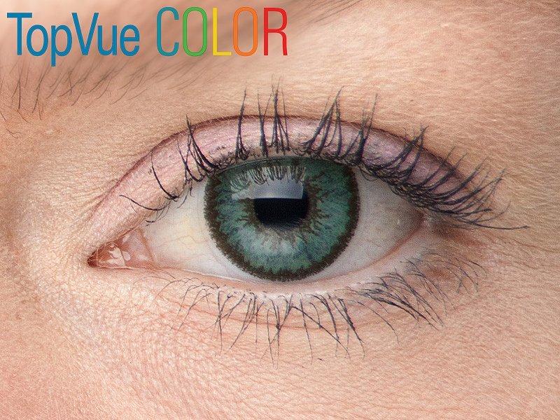 """TopVue Color - ohne Stärke (2Linsen) - """"Green"""" bei einer blauen Augenfarbe"""