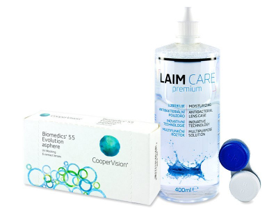 Biomedics 55 Evolution (6 Linsen) +  Laim Care 400 ml