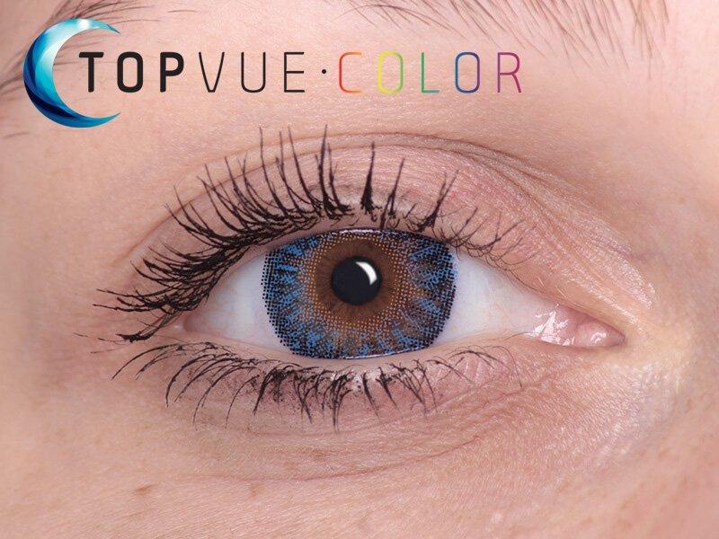 """TopVue Color - mit Stärke (2Linsen) - """"True Sapphire"""" bei einer braunen Augenfarbe"""