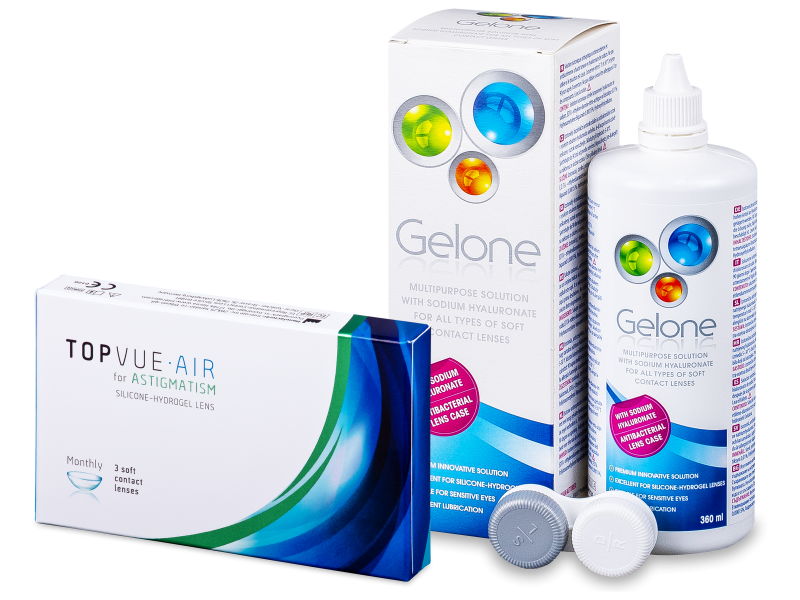 TopVue Air for Astigmatism (3Linsen) +Pflegemittel Gelone 360ml - Spar-Set