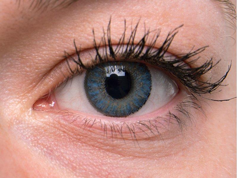 """TopVue Color Tageslinsen - mit Stärke (10Linsen) - """"Blue"""" bei einer grauen Augenfarbe"""
