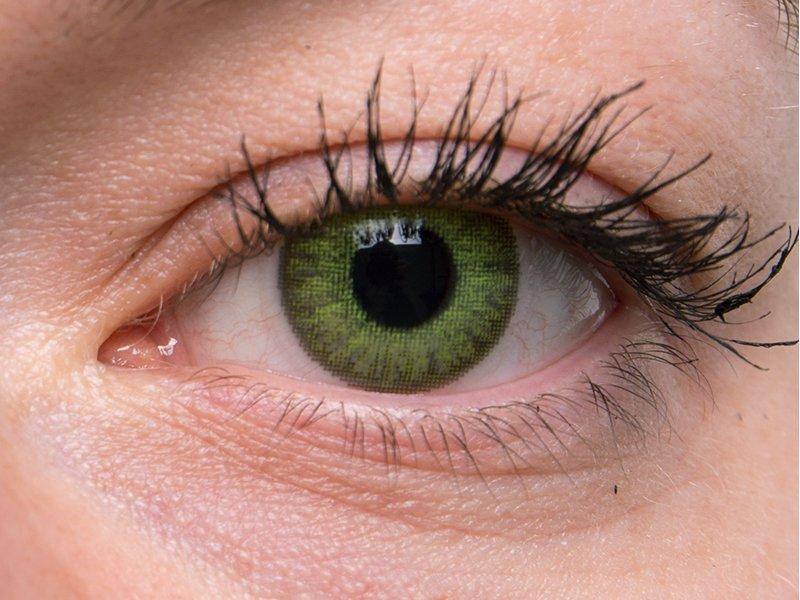 """TopVue Color Tageslinsen - mit Stärke (10Linsen) - """"Fresh Green"""" bei einer grauen Augenfarbe"""